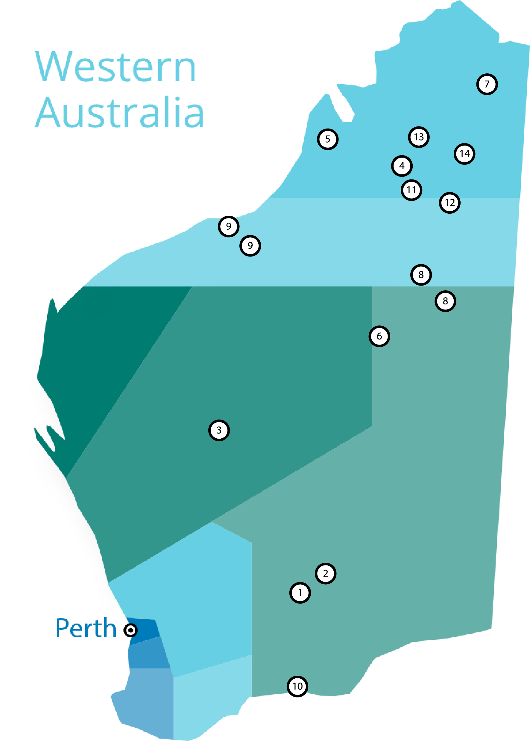 A map of Western Australia showing AICS