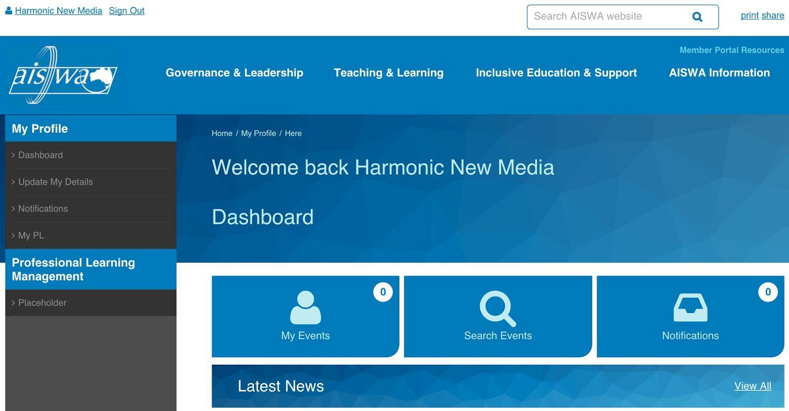 AISWA Website Dashboard